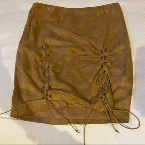 Olivaceous tie up suede skirt